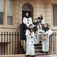 1984 Pierrotters on steps of Uncle's flat at Number 40 Regency Square, Brighton