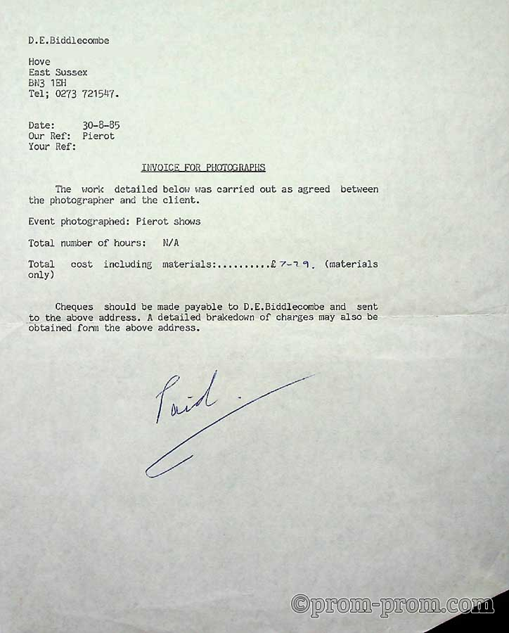 1985-08-30 Invoice for photoshoot - Dave Biddlecombe