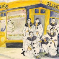 1986 Albatross cafe watercolour of the Pierrotters
