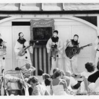 1986 In front of Sergeant Stone's Grand Punch & Judy Show Palace Pier Brighton