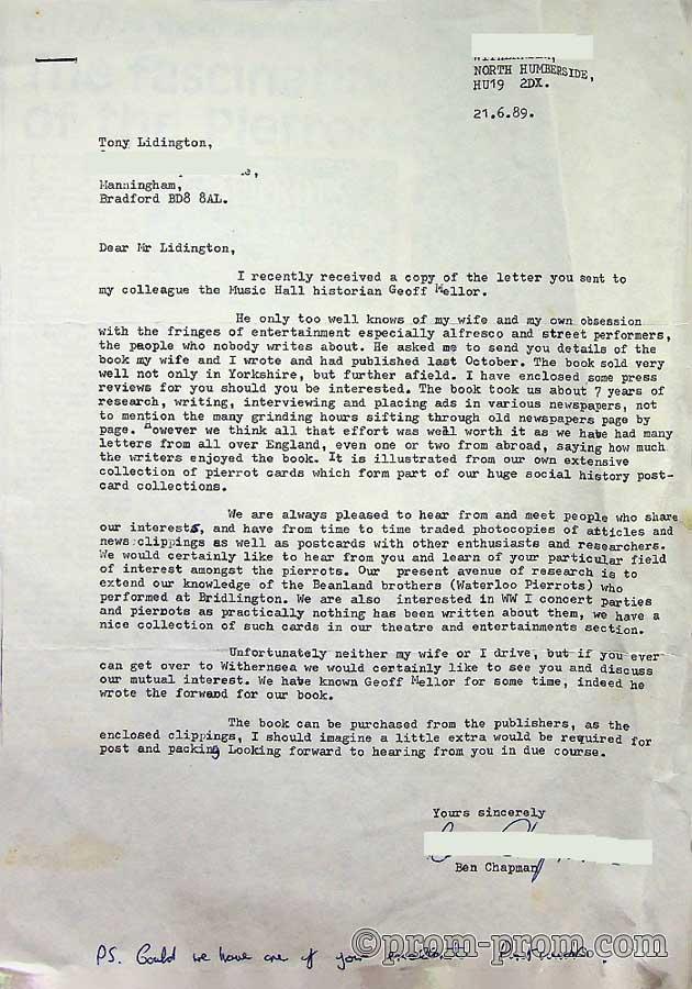 1989-06-21 Letter from Ben Chapman