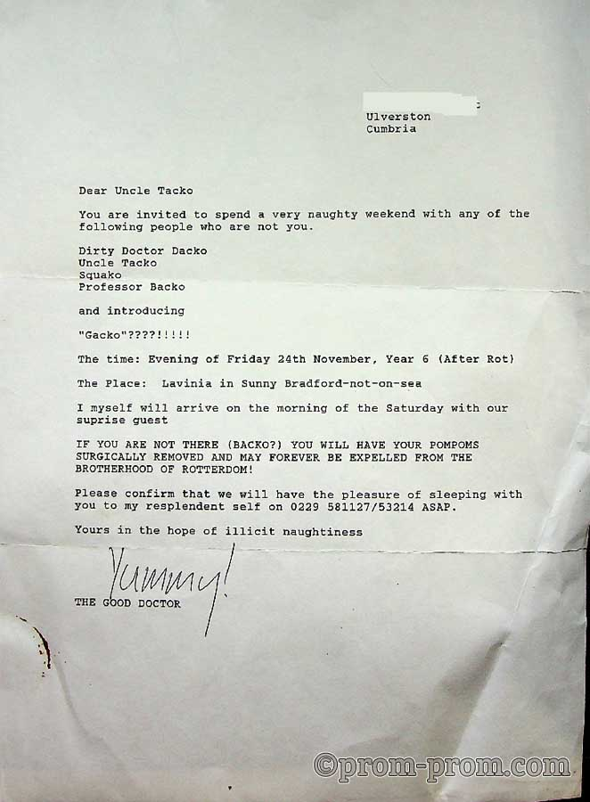 1989 TBC Letter from Dr Dacko to the Rotters