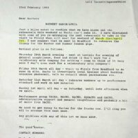 1990-02-23 Letter re rehearsals 1