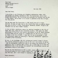 1991-07-02 Letter to Isle of Wight, Medina Borough Council re centenary events