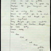 1991 Fan mail - Jane Griffifth & Class U3i