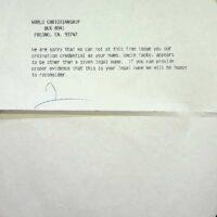 992 Letter from 1st Church of Fresno California Reverend refusal letter date 04