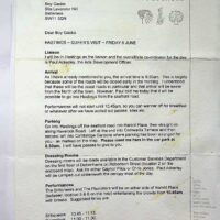 1997-06-03 Letter from Zap about gig for Queen in Hastings 1