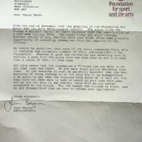 1997-10-20 Rejection from Foundation for Sports and Arts