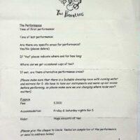 1998-07 One Man Band Shebang, Morecambe contract 1a