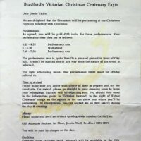 1998-12-13 TBC Victorian Christmas Fayre, Bradford contract 1
