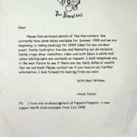 1998 Letter to Southport from Uncle Tacko! offering both the Pierrotters and Poppets Puppets