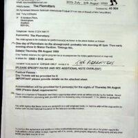 1999.03.16 Sidmouth International Folk Festival contract