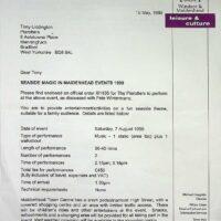 1999.05.19 Maidenhead Seaside Magic contract