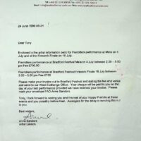 1999.06.24 Bradford International festival confirmation letter
