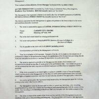 1999.07.08 Cardiff International Street Festival contract 1