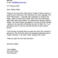 Letter to Graham Oakes 2007-02-12