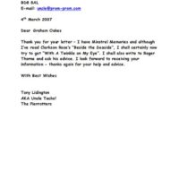 Letter to Graham Oakes 2007-03-04
