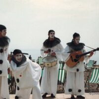 The Pierrotters performing on the beach 1983