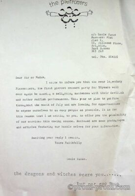 1984-5 letter of enquiry to promoters