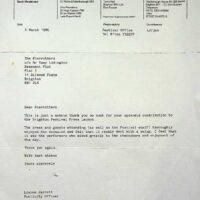 1986-03-04 Letter from Brighton Festival