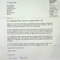 1998-09-23 Letter from De la Warr Pavilion about 1999 season 2