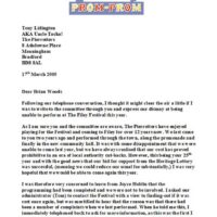 2005 Letter to Filey Festival Committee 17th March 2005 page1