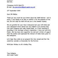 Filey Festival letter 2 2004-09-27