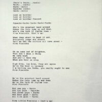 Lyrics to 5 Pierrots (never performed)