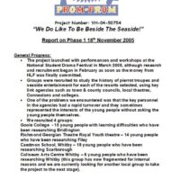 Report on Phase 1 of We do like to be beside the seaside page1